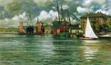Die Howaldswerke in Kiel, Gemälde von Fritz Stoltenberg, 1907